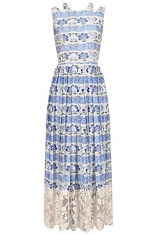 Blue Thread Embroidered Long Dress by Niki Mahajan