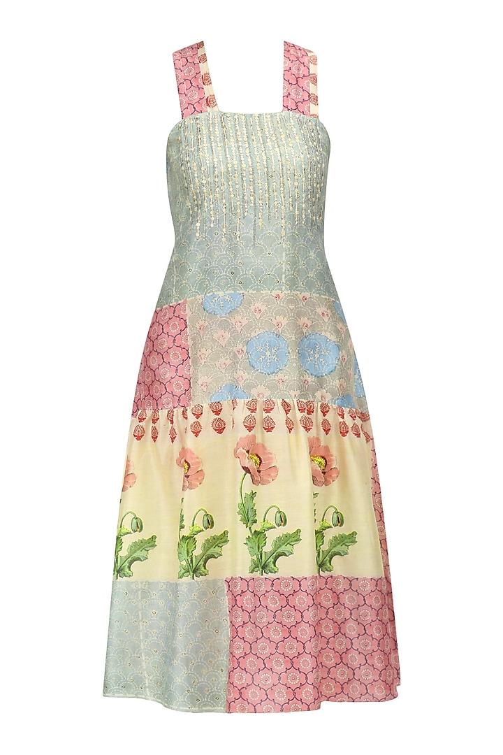 Grey, Beige and Pink Vintage Print Maxi Dress by Niki Mahajan