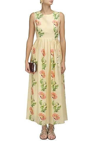 Ivory Vintage Floral Print Long Dress by Niki Mahajan