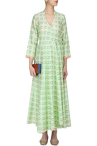 Green Vintage Floral Printed Motifs Wrap Dress by Niki Mahajan