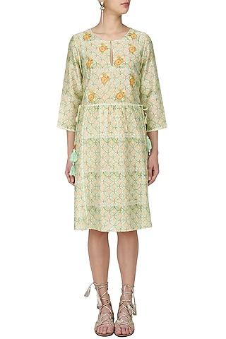 Green and Orange Floral Print Knee Length Dress by Niki Mahajan