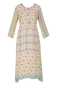 Yellow, Pink and Green Vintage Print Asymmetrical Dress by Niki Mahajan