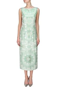 Aqua Blue and Silver Sequins Embroidered Mid Length Dress by Niki Mahajan
