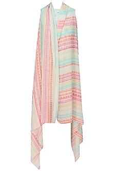 Pink Geometric Printed Wrap Jacket by Niki Mahajan