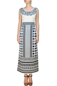 Off White and Turquoise Geometric Print Dress by Niki Mahajan