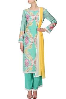 Turquoise Blue Printed Straight Kurta and Pants with Yellow and White Shaded Dupatta by Niki Mahajan