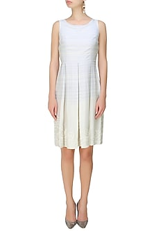 Grey Linear Embroidered Sleeveless Pleated Dress by Niki Mahajan