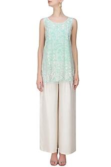 Aqua Blue and Ivory Floral Thread Embroidered Asymmetric Top by Niki Mahajan