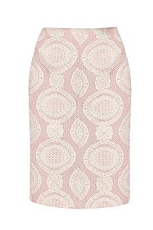 Pink Crochet Lace Pencil Fitted Skirt by Niki Mahajan