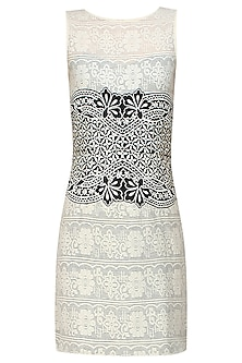Ivory Crochet Lace and Thread Embroidered Dress by Niki Mahajan