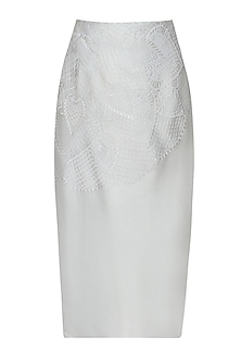 Metallic Grey Self Colour Embroidered Pencil Fitted Skirt by Niki Mahajan