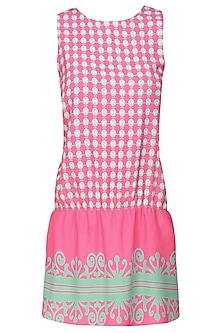Pink and Aqua Blue Printed Short Jumpsuit by Niki Mahajan