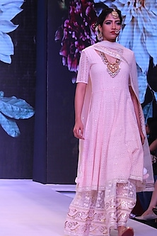 Pink Sequinned Cutwork Anarkali and Nirari Skirt Set by Niki Mahajan