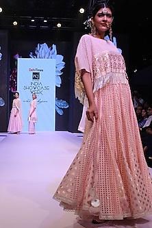 Pink Cutwork Short Kimono and High Waisted Skirt Set by Niki Mahajan
