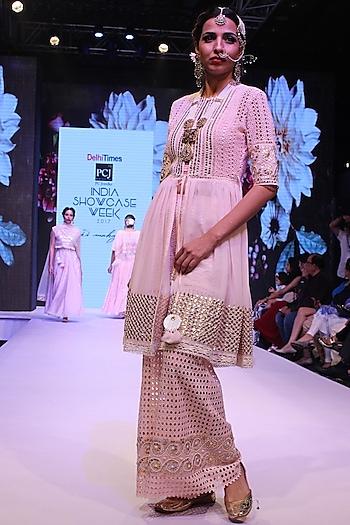 Pink Gota Patti Work Short Anarkali and Pants Set by Niki Mahajan