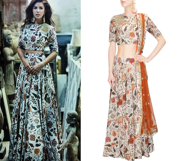 Off white floral marodi embroidered crop top and skirt set by Anoli Shah