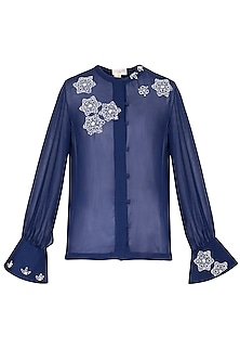 Indigo embroidered shirt by Nineteen89 by Divya Bagri