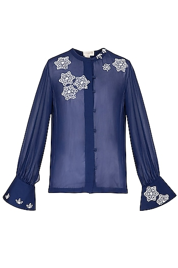 Indigo embroidered shirt by Nineteen89 by Divya Bagri