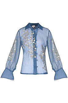 Powder blue sheer embroidered shirt by Nineteen89 by Divya Bagri