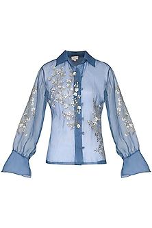 Powder blue sheer embroidered shirt by Nineteen89 by Divya Bagri