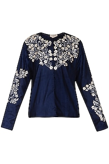 Indigo embroidered jacket by Nineteen89 by Divya Bagri