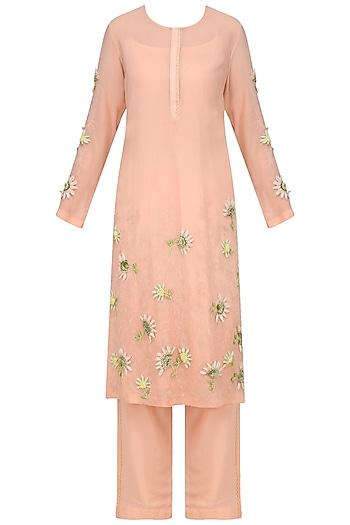 Peach Embellished Kurta with Straight Pants by Nineteen89 by Divya Bagri