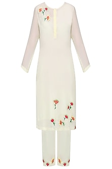 Ivory Embellished Kurta with Straight Pants by Nineteen89 by Divya Bagri