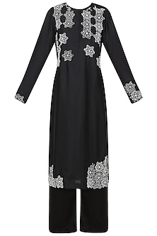 Black Embroidered Kurta with Palazzo Pants by Nineteen89 by Divya Bagri
