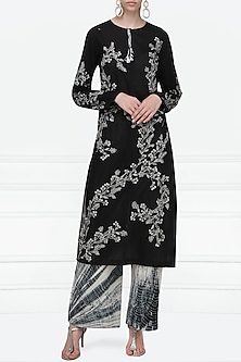 Black Embroidered Kurta with Shibori Palazzo Pants by Nineteen89 by Divya Bagri