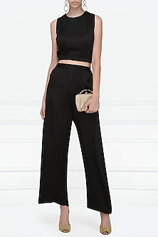 Black Satin Wide Leg Pants by Nineteen89 by Divya Bagri