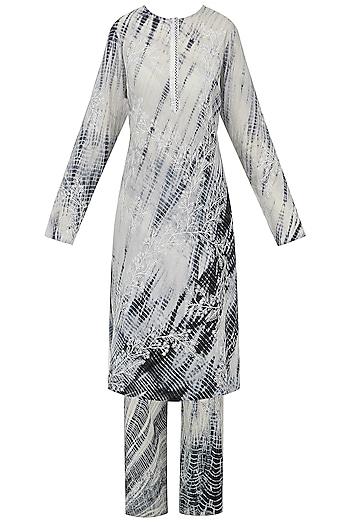 Black and White Shibori Embroidered Kurta with Palazzo Pants by Nineteen89 by Divya Bagri