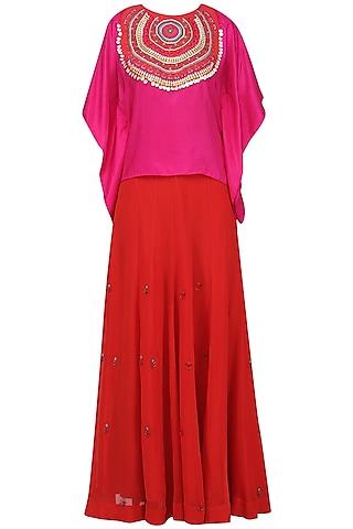 Pink Tribal Embroidered Kaftan Top with Lehenga Skirt Set by Nineteen89 by Divya Bagri