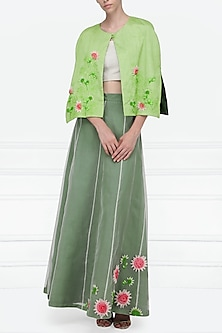 Mint Green Embellished Lehenga, Blouse and Cape Set by Nineteen89 by Divya Bagri