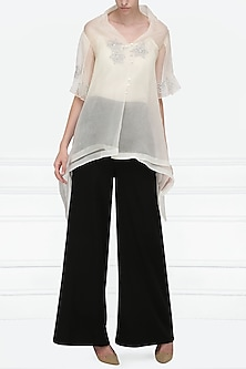 Off White Embroidered Asymmetrical Top by Nineteen89 by Divya Bagri
