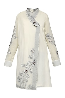 Off White Embroidered Overlap Tunic by Nineteen89 by Divya Bagri