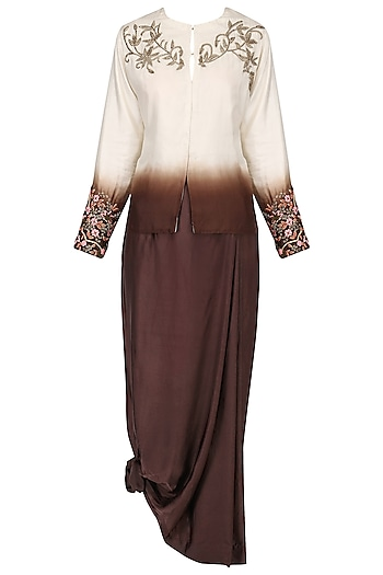 Beige to brown embellished jacket with pleated skirt by Nineteen89 by Divya Bagri