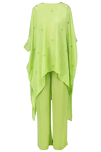 Fresh green embellished asymmetric top with pants by Nineteen89 by Divya Bagri