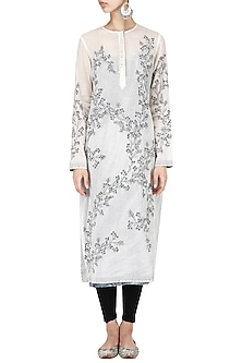 off white Calico embroidered kurta by Nineteen89 by Divya Bagri