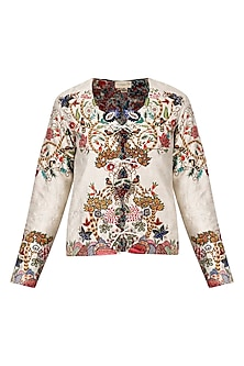 Beige 'birds of the forest' Embroidered jacket by Nineteen89 by Divya Bagri