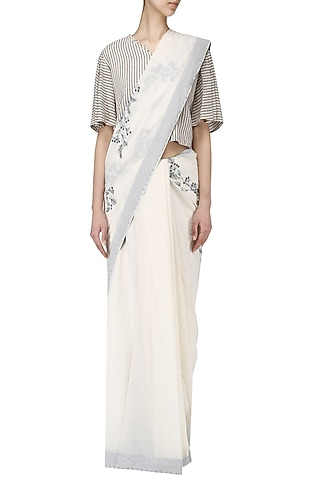 Off white embroidered Calico saree with striped blouse by Nineteen89 by Divya Bagri
