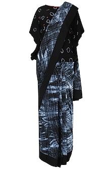 Black Shibori saree with blouse by Nineteen89 by Divya Bagri