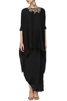 Black zardosi embroidered asymmetric top with pleated skirt by Nineteen89 by Divya Bagri
