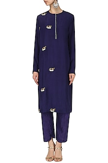 Indigo Elephant motif crushed kurta with straight pants by Nineteen89 by Divya Bagri