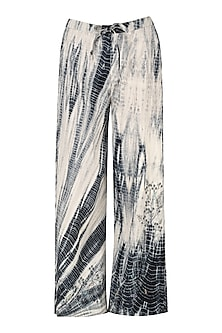 Black shibori embroidered pants by Nineteen89 by Divya Bagri