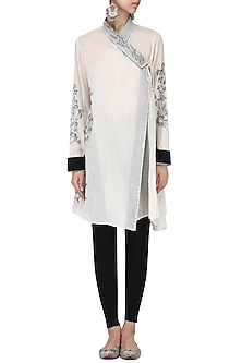 Off white Calico embroidered wrap top by Nineteen89 by Divya Bagri