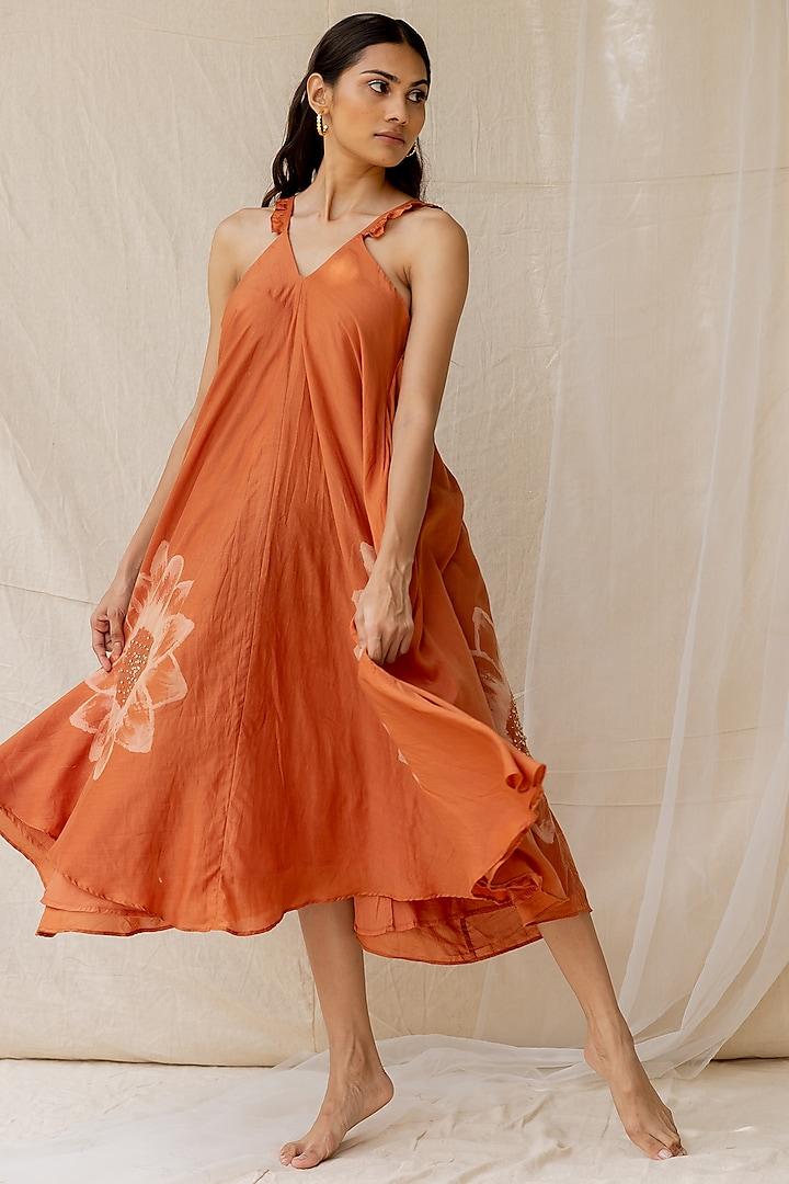 Rust Hand Painted Flared Dress  by Nirjara
