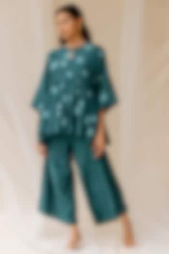 Bottle Green Modal Satin Pant Set by Nirjara