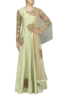 Green Thread and Sequins Embellished Anarkali by Shikha and Nitika