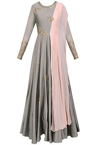 Grey and Pink Butterfly Embellished Anarkali by Shikha and Nitika