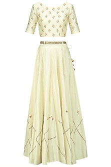 Offwhite Embroidered Crop Top and Skirt Set by Shikha and Nitika